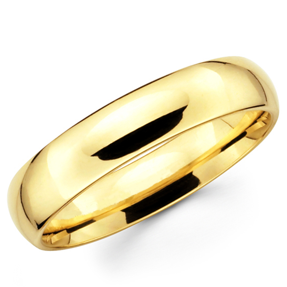 10k Solid Yellow Gold 5mm Plain Men S And Women S Wedding Band Ring