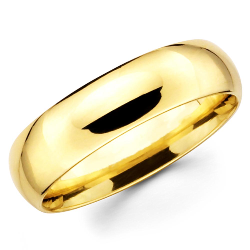 74bf86e56da 14K Solid Yellow Gold 6mm Plain Men's and Women's Wedding Band Ring ...