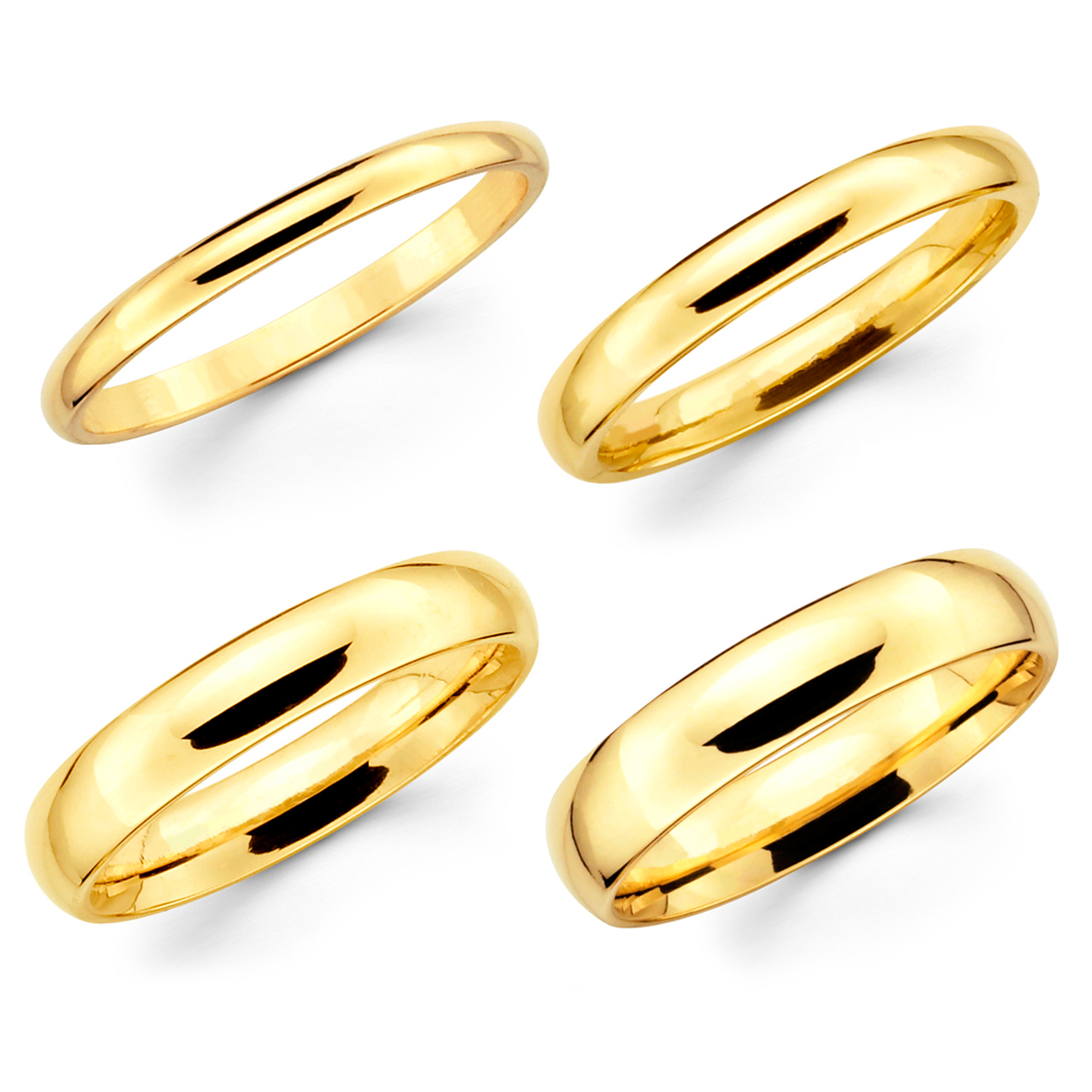 Solid 10K Yellow Gold 2mm 3mm 4mm 5mm Comfort Fit Men ...