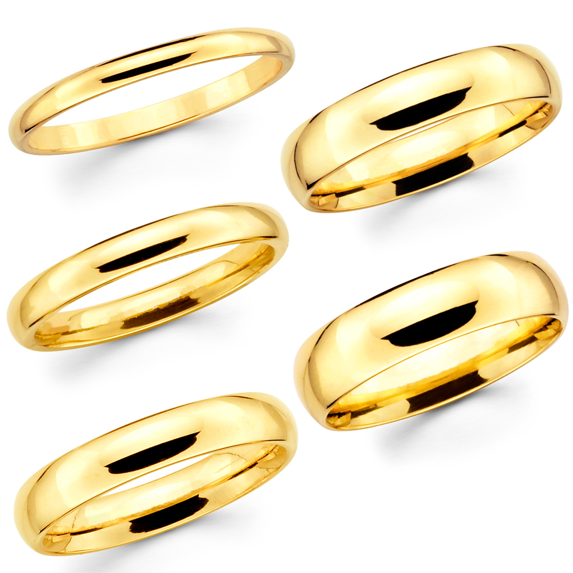 14K Solid Yellow Gold Comfort Fit Wedding Band