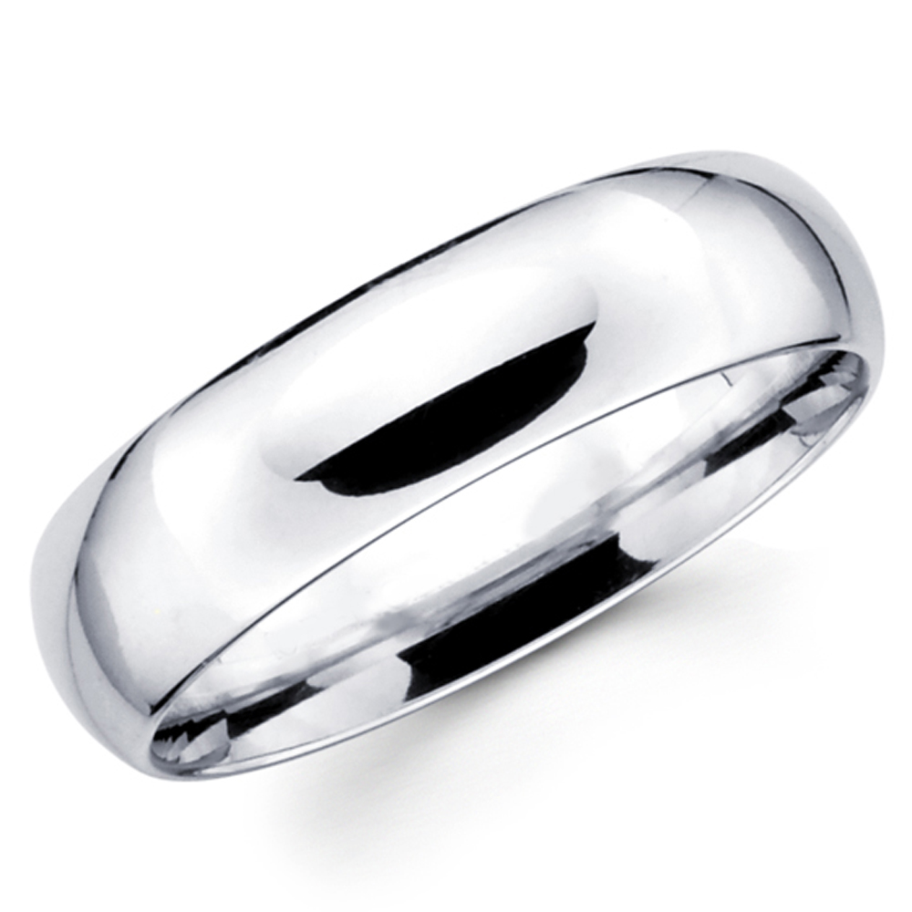 10k Solid White Gold 6mm Comfort Fit Men S And Women S Wedding Band