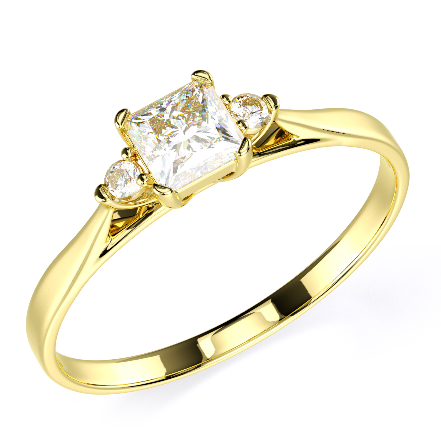 14K Solid Yellow Gold CZ Cubic Zirconia Three Stone Engagement ...