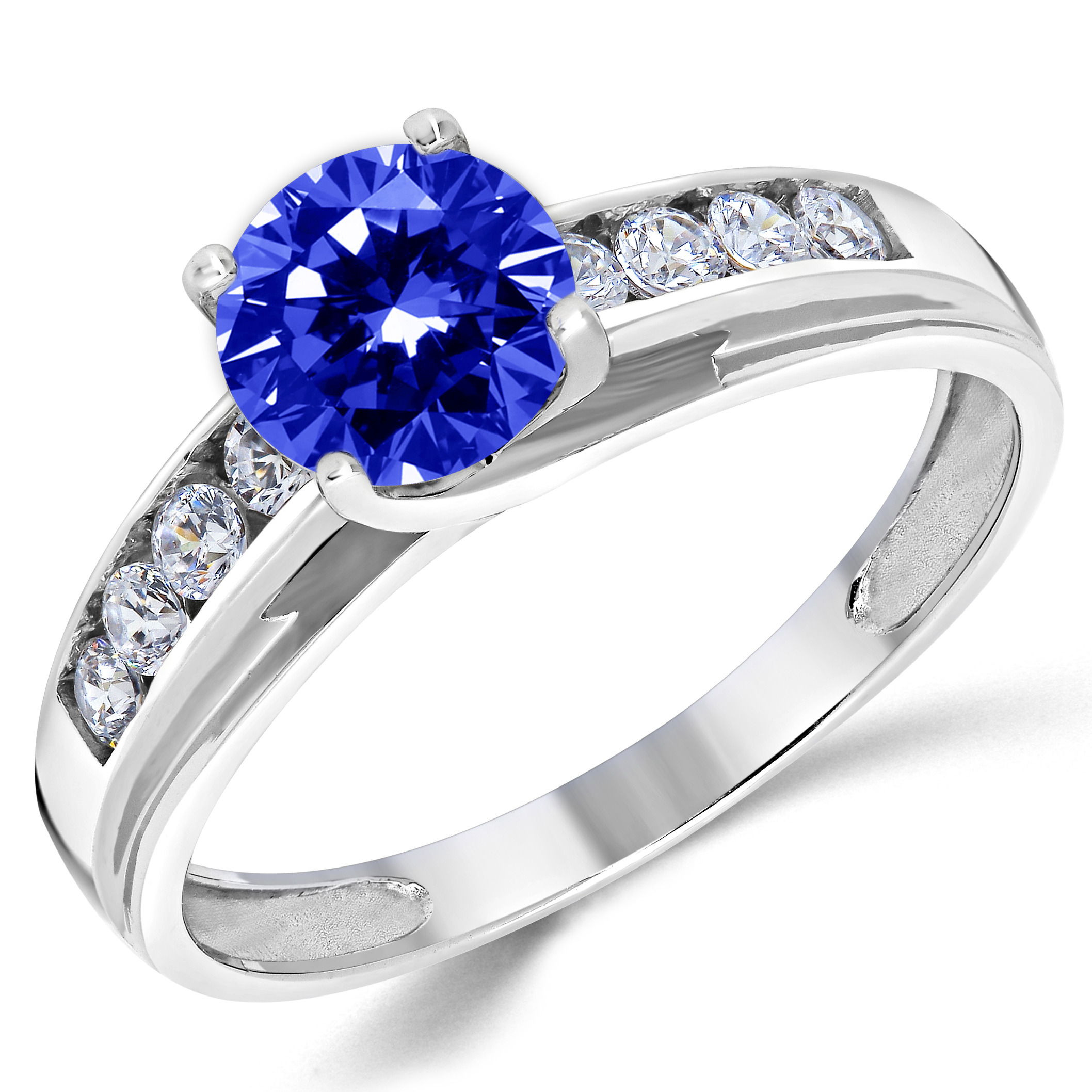 14K Solid White Gold Lab Created Sapphire Solitaire
